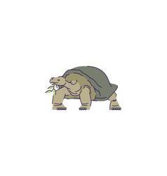 Tortoise eating leaf semi flat rgb color vector