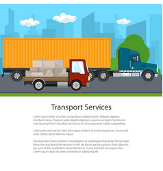 truck and small cargo van drive poster vector image
