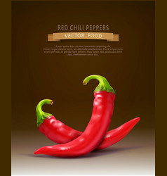 Two red hot chilli peppers isolated on a brown vector