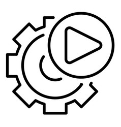 Video gear option icon outline style vector