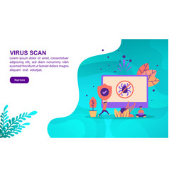 virus scan concept with character template for vector image