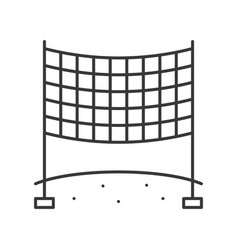 Volleyball net on beach sand outline icon vector
