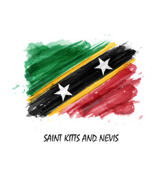 watercolor painting flag of saint kitts and nevis vector image