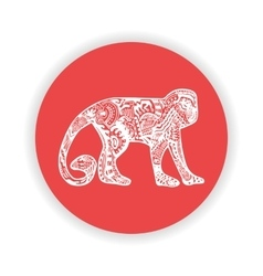 White monkey with hand-drawn pattern on red vector image