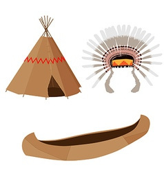 Wigwam canoe and headdress vector
