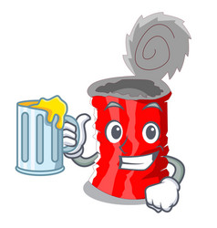 with juice set of metallic tin can cartoon vector image