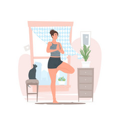 woman doing yoga in morning at home vector image