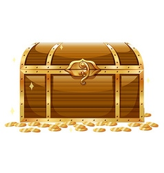 Wooden chest and golden coins vector