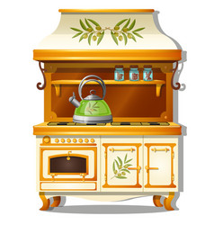 Wooden kitchen set with a gas stove and a shelf vector
