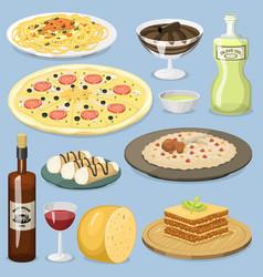 cartoon italy food cuisine homemade cooking fresh vector image