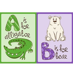 Children Alphabet with Funny Animals Alligator and vector image