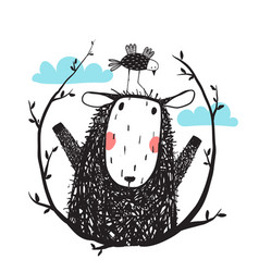 funny sheep and bird portrait with laurel vector image vector image