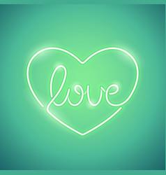 love neon sign green vector image vector image