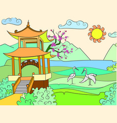nature of japan color book for children cartoon vector image vector image