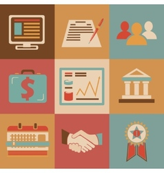 Retro flat design style business Icons for Web and vector image