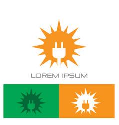 sun solar plug electric logo vector image
