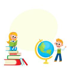 children learn girl reading boy studying globe vector image