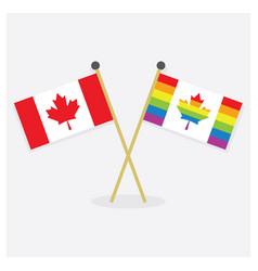 Crossed original canada flag and pride canada flag vector