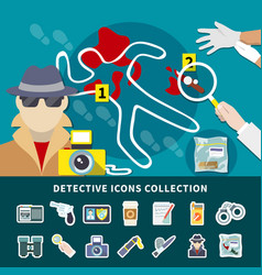 detective icon set vector image