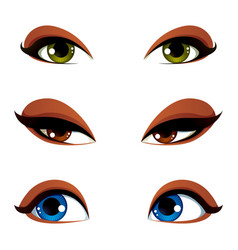 female eyes collection in different emotion with vector image vector image