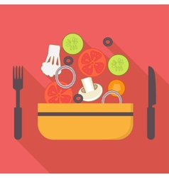 Food and cooking icons vegetarian salad Flat vector image