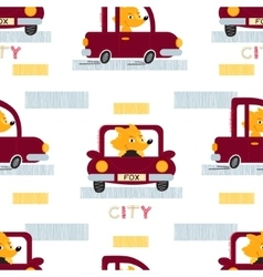 Fox with car seamless pattern vector image vector image