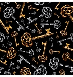 Gold and silver vintage keys on black background vector image