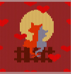 knitted woolen seamless pattern for valentines day vector image vector image