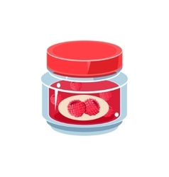 Raspberry Jam In Transparent Jar vector image