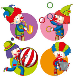 sticker design with happy clowns vector image vector image