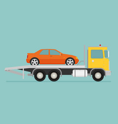 tow truck with car on it flat style vector image vector image