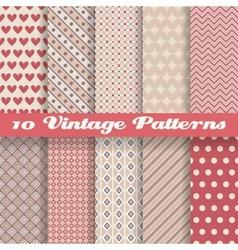 Vintage different seamless patterns tiling vector image vector image