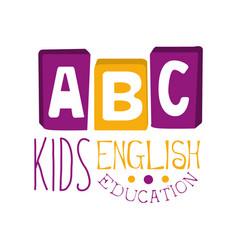 abc english education for kids logo symbol vector image vector image