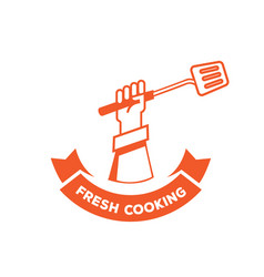 fresh cooking logo with hand hold turner vector image