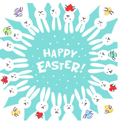 funny bunny easter greeting card with white easter vector image vector image