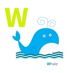 Letter W Whale Zoo alphabet English abc with vector image