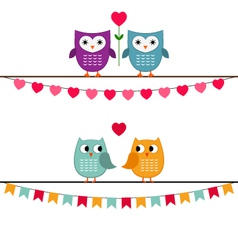 Owl couples set vector image