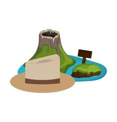 tropical island and hat icon vector image