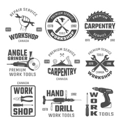 Work Tools Black White Emblems vector image vector image