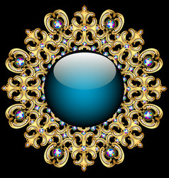 Background round frame made of precious stones vector image