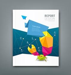 Cover Magazine origami paper crab design vector image vector image