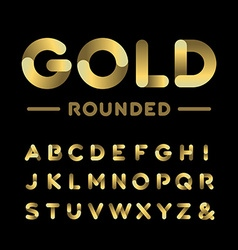 Golden rounded font alphabet with gold effect vector image vector image