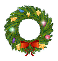 green christmas wreath with vector image
