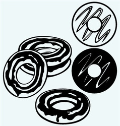 Group of glazed donuts vector image vector image