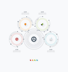 infographics template four options with circle vector image