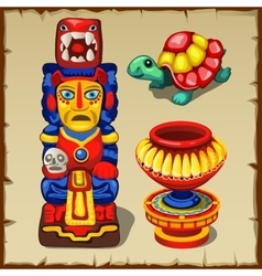 Mayan totem the turtle and decorative vase vector image