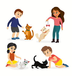 set of children and cats vector image