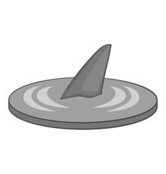 Shark fin icon gray monochrome style vector image vector image