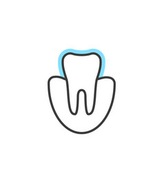 thin line icon of tooth extension or protection vector image vector image