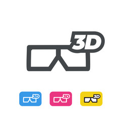 3d movie glasses line icon flat design vector image